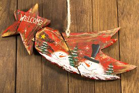 pic of comet  - Hanged wooden decoration comet star shaped - JPG