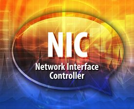 picture of nic  - Speech bubble illustration of information technology acronym abbreviation term definition NIC - JPG