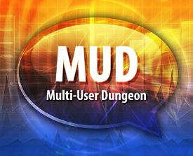 stock photo of dungeon  - Speech bubble illustration of information technology acronym abbreviation term definition MUD Multi User Dungeon - JPG