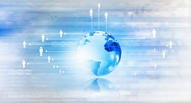 picture of globe  - Background conceptual image of digital globe and binary code - JPG
