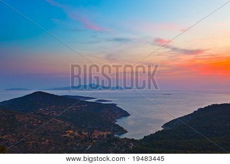 Постер, плакат: Греческие острова до восхода солнца, холст на подрамнике