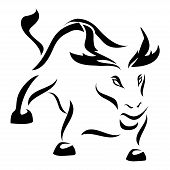 picture of bull-riding  - Angry bull in calligraphy style on white background - JPG