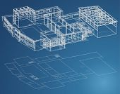 stock photo of school building  - Blueprint plan of school building in third view and basic - JPG
