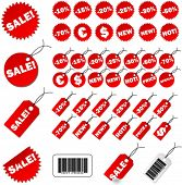 Set of red price tags in vector design.
