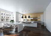 Modern design kitchen interior with golden wall in an urban loft. 3d Rendering. poster