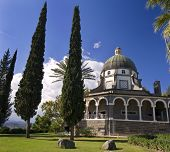 image of beatitudes  - Roman Catholic Franciscan chapel on Mount of Beatitudes in the Galilee - JPG