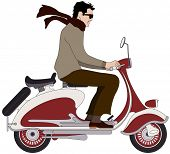 stock photo of vespa  - Vector illustration of an Italian boy on a scooter - JPG