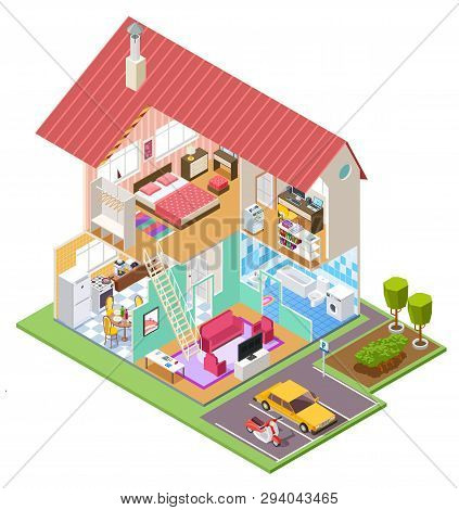 poster of Cutaway House Isometric. Housing Construction Cross Section With Kitchen Bedroom Bathroom Interior.