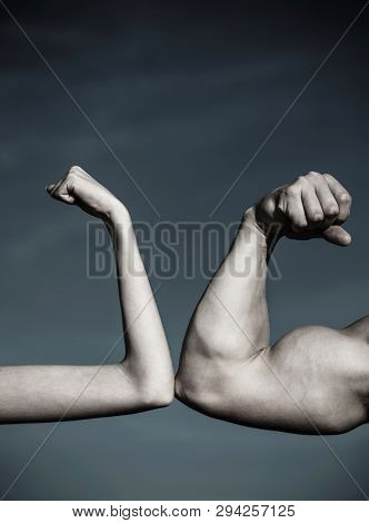 poster of Rivalry, Vs, Challenge, Strength Comparison. Muscular Arm Vs Weak Hand. Vs, Fight Hard.competition,