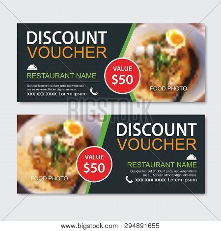 poster of Discount Gift Voucher Asian Food Template Design. Noodles Set. Use For Coupon, Banner, Flyer, Sale,