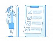 Woman With Checklist. Complete Business List. Girl Holding Pencil. Successful Task Check Mark Comple poster