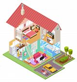 Cutaway House Isometric. Housing Construction Cross Section With Kitchen Bedroom Bathroom Interior.  poster