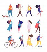 People Walking. Cartoon Persons Walk Street. Men And Women Crowd Vector Isolated Collection. Man And poster