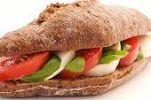 stock photo of bap  - Tomato Mozzarella Sandwich - JPG
