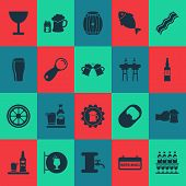 Beverages Icons Set With Cocktail Sign, Lever, Brewery And Other Beer With Ice Elements. Isolated  I poster