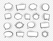 Big Set Of Speech Bubbles. Retro Empty Comic Bubbles. Stickers. Vector Illustration. poster