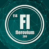 Flerovium Chemical Element. Sign With Atomic Number And Atomic Weight. Chemical Element Of Periodic  poster