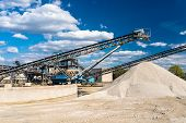 Conveyor Over Heaps Of Gravel On Blue Sky At An Industrial Cement Plant. poster