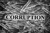 Torn Pieces Of Paper With The Word Corruption. Concept Image. Black And White. Closeup. poster