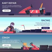Karting Cars. Banners With Sport Pictures Of Speed Fast Karting Racing Automobiles Vector Cartoon Pi poster