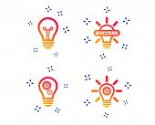 Light Lamp Icons. Lamp Bulb With Cogwheel Gear Symbols. Idea And Success Sign. Random Dynamic Shapes poster