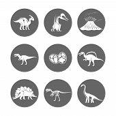 Dinosaur Icons Vector. Dinosaur Egg And Volcano, Dinosaur Skeleton And Tyrannosaurus Silhouettes Ico poster