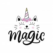 Caticorn. Vector Cute Cat Unicorn Cartoon Character. Magic Hand Drawn Kitty For T Shirt Print, Kids  poster