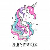 Glitter Unicorn Drawing For T-shirts. I Believe In Unicorns Text. Design For Kids. Fashion Illustrat poster