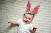 Like Bunny Rabbits. Cute Children In Easter Bunny Style. Small Children In Easter Bunny Headbands. L poster