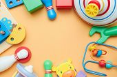 Kids Toys. Background With Childrens Toys. View From Above. The Space Between Childrens Toys. poster