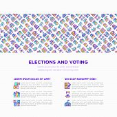 Election And Voting Concept With Thin Line Icons: Ballot Box, Inauguration, Corruption, Debate, Pres poster