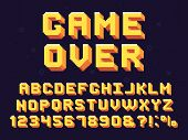 Pixel Game Font. Retro Games Text, 90s Gaming Alphabet And 8 Bit Computer Graphic Letters Vector Set poster