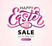 Happy Easter Text. Vector Illustration With Bunny Rabbit Ears On Mint Background. Hand Drawn Text Fo poster