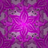 Seamless Spring Pattern With Magenta, Pink And Violet Flowers, Magenta, Pink And Violet, Little Mage poster