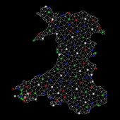 Bright Mesh Wales Map With Glare Effect. Wire Carcass Triangular Mesh In Vector Format On A Black Ba poster