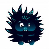 Neon Blue And Black Spiky Cartoon Caracter Hedgehog With Snout poster