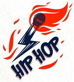 Rap Music Vector Logo Or Emblem With Microphone In A Shape Of Lightning Bolt And Flames Of Fire, Hot poster