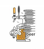 Icon With Beer Mug, Wheat And Hops, Beer Tap. Isolated Elements On A White Background In Modern Line poster