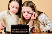 Makeup Art. Explore Moms Cosmetics Bag Concept. Salon And Beauty Treatment. Children Little Girls Ma poster