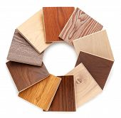 Set Of Small Samples Of Wooden Parquet For The Designer. Isolated On White Background poster