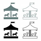 Carousel Roundabout Merry-go-round Vintage Merry-go-round Icon Set Black Grey Color Vector Illustrat poster