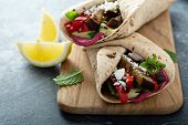 Grilled Vegetables And Beetroot Hummus Healthy Wraps poster
