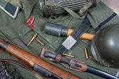 A Vintage Background With German Army Field Equipment. Ww2 poster