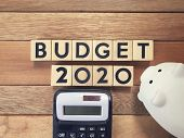 New Year Budget Concept - Budget 2020 Written On Wooden Blocks. poster