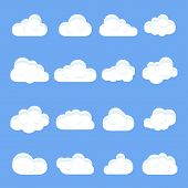 Cloud Cartoon. Set Of Different Cartoon Clouds. Clouds On A Isolated Blue Background. Vector Illustr poster