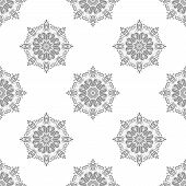 Classic Seamless Pattern. Damask Orient Light Silver Ornament. Classic Vintage Background poster
