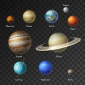 Planets Of Solar System Vector Isolated Icons. Earth, Saturn, Moon And Mars Or Venus, Neptune With M poster