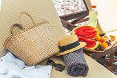 Beach Stuff Bag Towel Blanket On Sun Longer. Fruits On The Table. Summer Vacation. Sea Beach poster