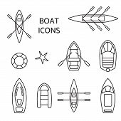 Boat Icons Outline Set. Top View Of Kayak, Vessel, Ship, Canoe And Dinghy, Inflatable Fishing. Conto poster