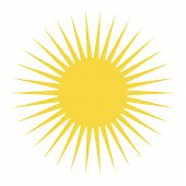 Yellow Color Sun With Long Rays. Yellow Sun Icon Vector Eps10 On White Background. poster